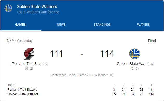 Trail Blazers - Warriors game