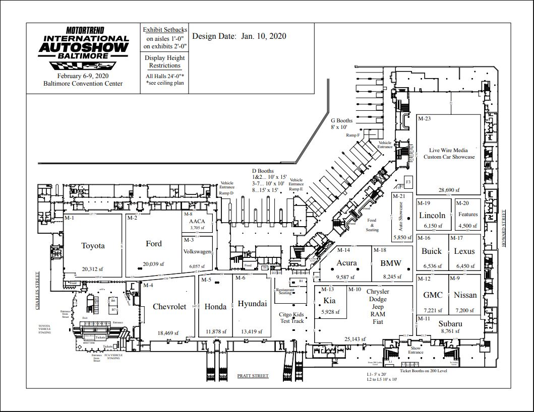 baltimore auto show 2020 layout