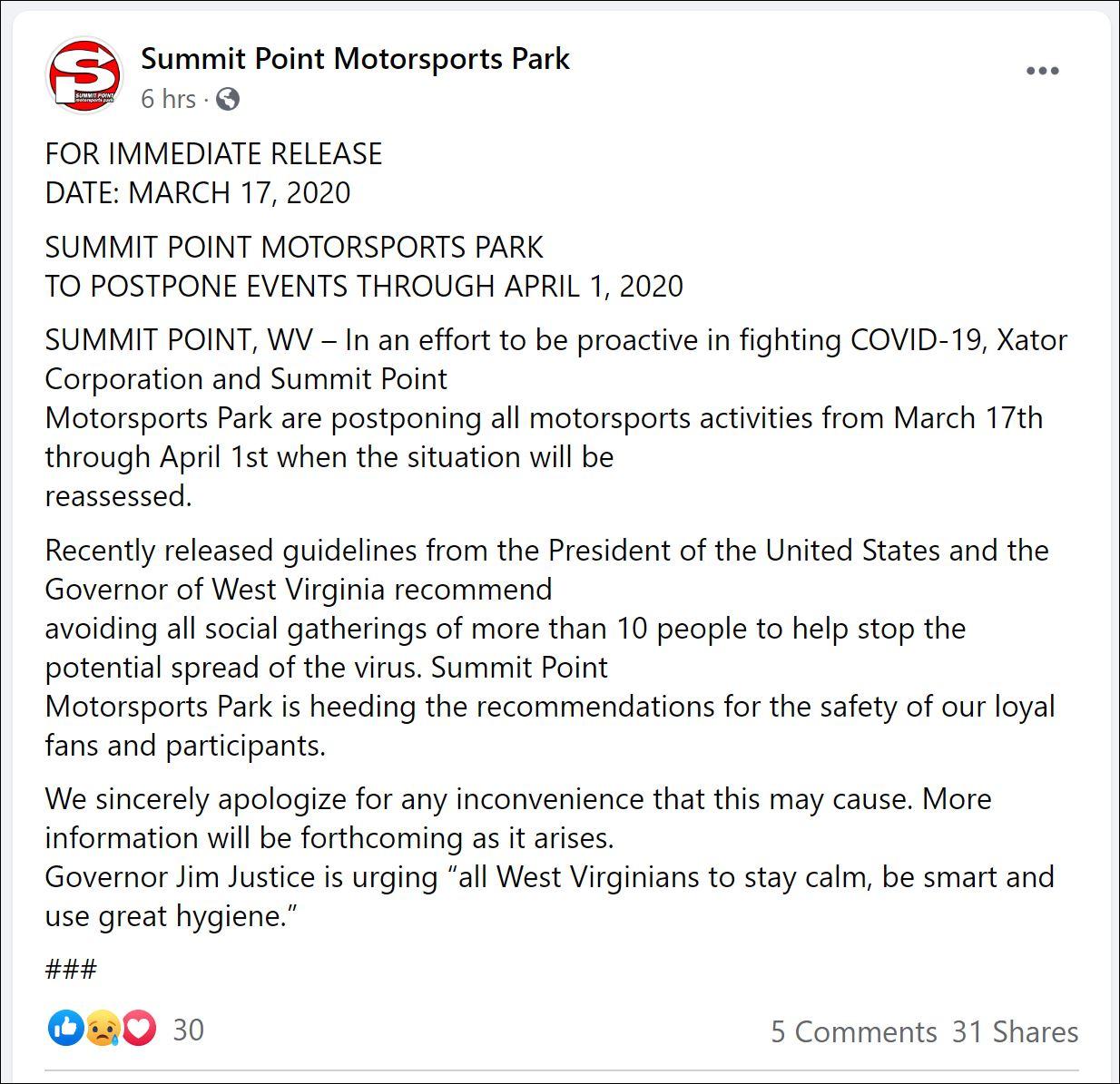 summit point schedule update